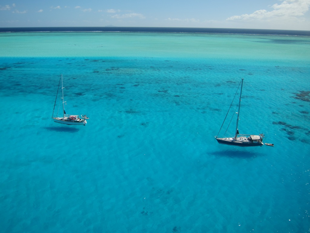Fat Annie & Sänna anchored in Bora Bora